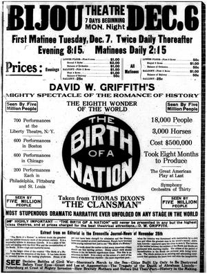 An advertisement for Birth of a Nation in the Evansville Journal for the Bijou theater on December 5, 1915.