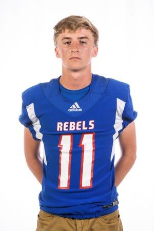 South Spencer High School football player Kobe Bartlett (11)