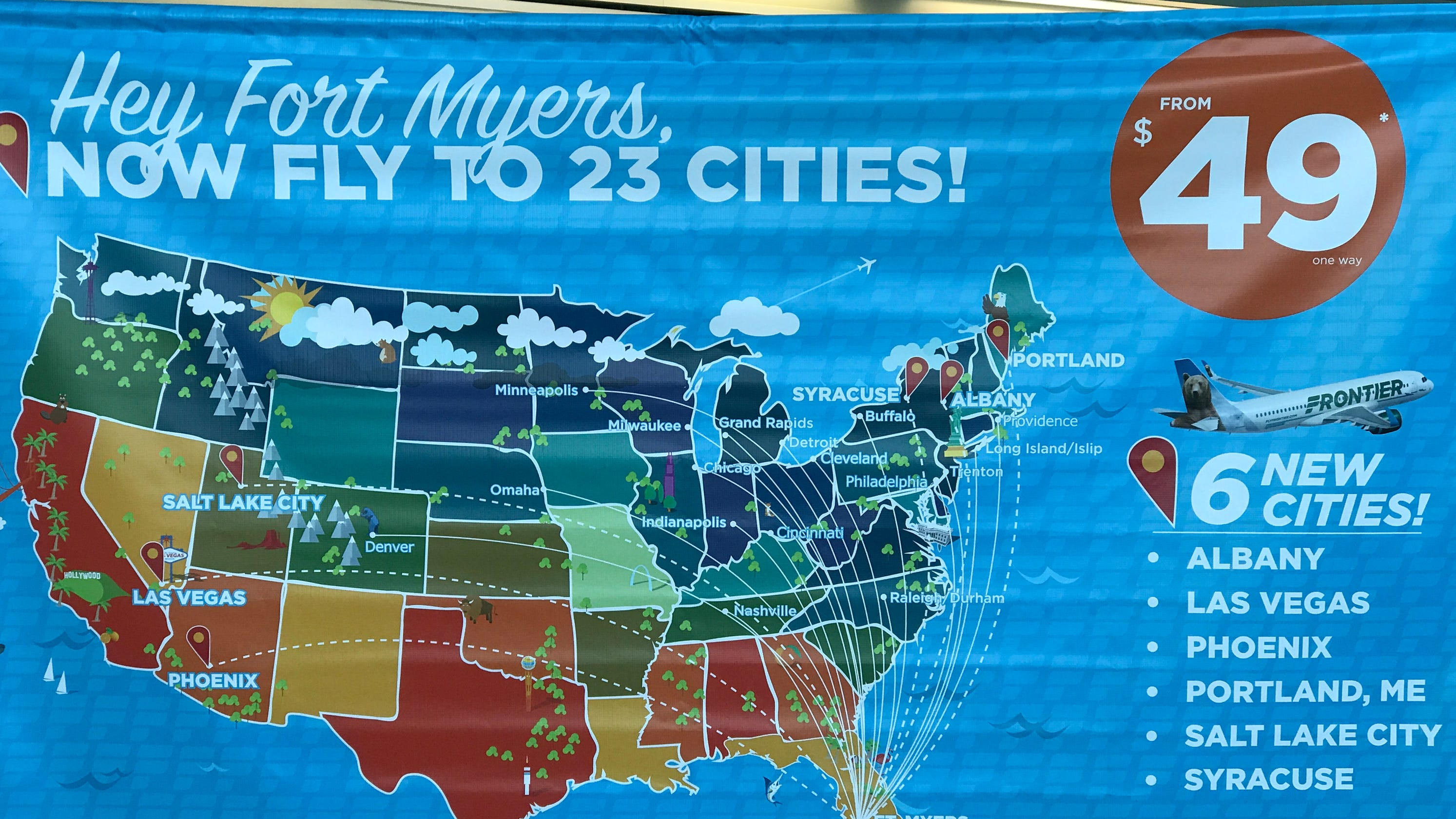 Southwest Florida Map With Cities.Frontier Adds Nonstop Flights To Southwest Florida International Airport