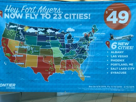 Frontier announces more flights out of RSW. Phoenix, Albany, Syracuse, Las Vegas, Salt Lake City, and Portland Main.