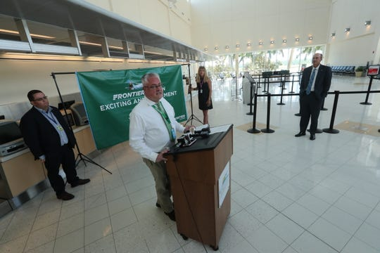 Will Evans, Frontier Senior Manager for Sales and Distribution, announces more flights out of RSW. Phoenix, Albany, Syracuse, Las Vegas, Salt Lake City, and Portland Main.
