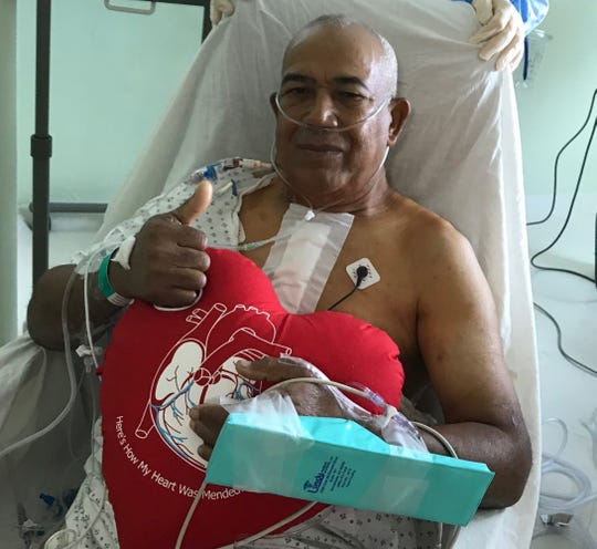 This 69-year-old man, after having aortic valve replacement with a pericardial valve, walked his first day post-op.
