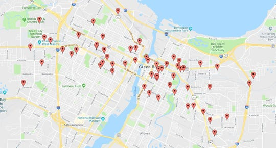 A map showing the locations of reported auto thefts in Green Bay so far in 2018.