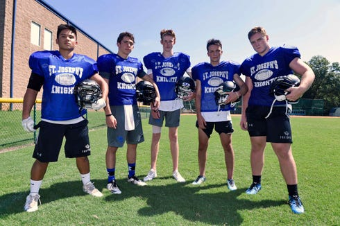 Seniors, from left, Ted Sanchez, Luke Bynum, Jadin McLear, Jadin Nassif and Jake Johanning will lead a St. Joseph's team under its third coach in the last three years.