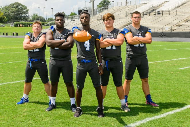 After Eastside posted its best record in 14 years last season, from left, Jackson Braswell (22), Josh Malloy (54), Payton Mangrum (4), Alex Shirley (51), Chase Barnes (53) and their teammates hope to maintain the momentum in 2018.