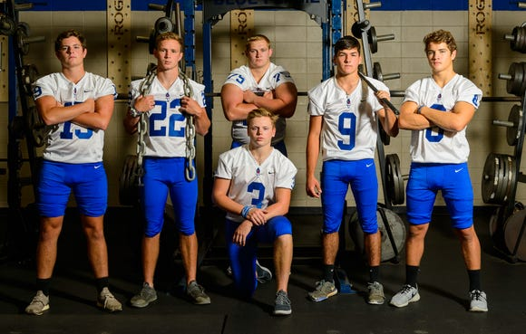 From left, Collin Hinkle (19), Jacob Perkins (22), Jackson Cudd (3), Braden Gravely (75), Dawson Gilstrap (9) and Jarod Barton (8) lead Pickens into the 2018 season.