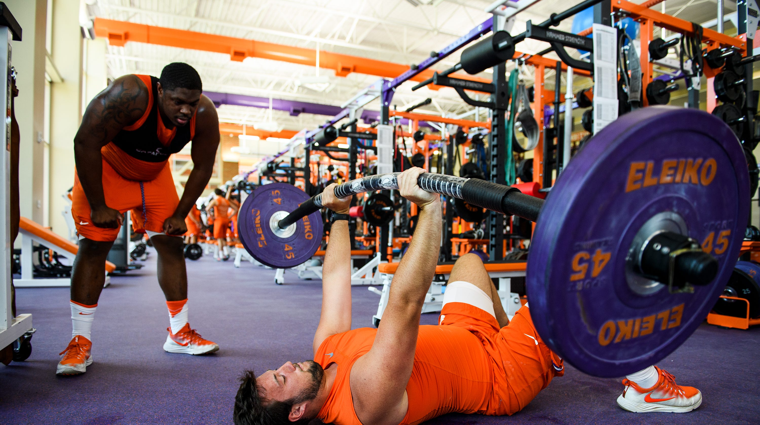 Clemson's J.L. Banks trains with a Tsunami Bar at the Allen N. Reeves Football Complex on Monday, June 11, 2018.