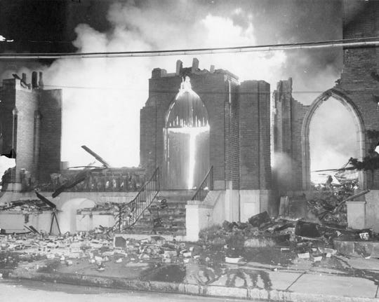 Springfield Baptist Church, originally built in 1871, was destroyed by fire on Jan. 25, 1972. The flames did $650,000 worth of damage; only the church bell survived.