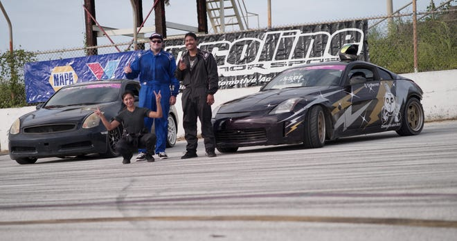The top three finishers from Round 3 of the Proline Drift Series at the Guam International Raceway in Yigo.