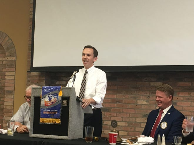 Mississippi State Auditor Shad White speaks at a Rotary Club of Hattiesburg luncheon on Tuesday, Aug. 7, 2018.