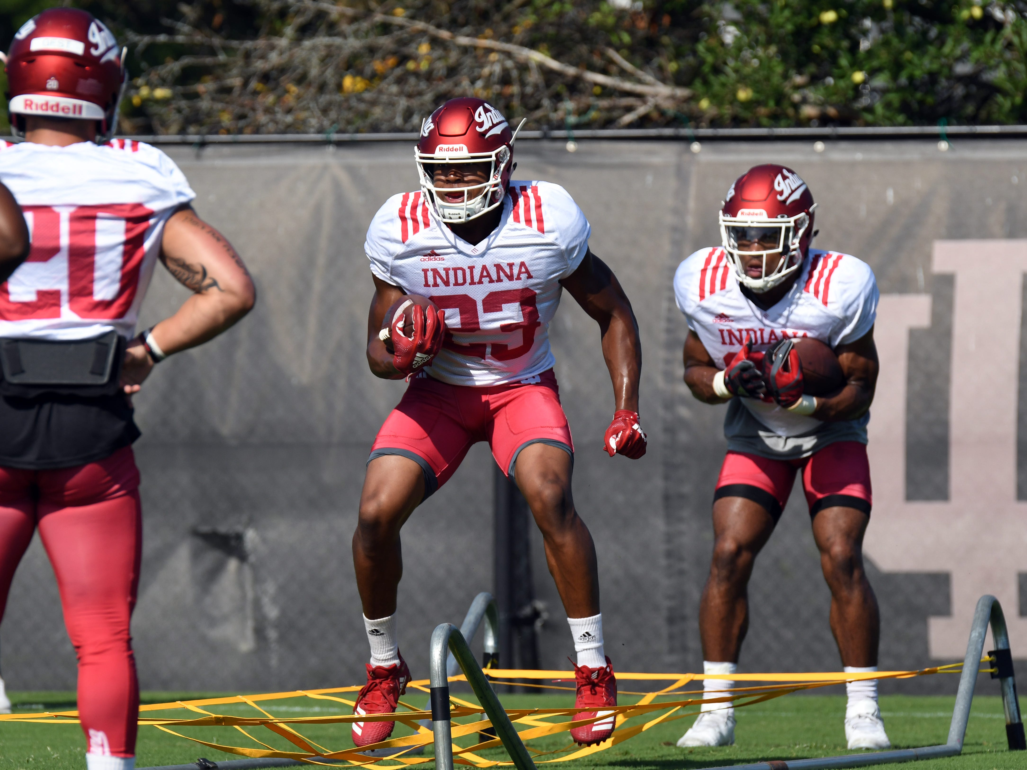 Indiana Hoosiers running back Ronnie Walker Jr. (23) participates in drills during practice at Mellencamp Pavilion in Bloomington, Ind., on Monday, August 6, 2018.