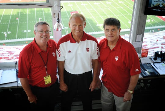 Buck Suhr (left), Don Fischer (middle) and Joe Smith (right) in the IU football broadcast booth ahead of the 2010 game between IU and Towson.