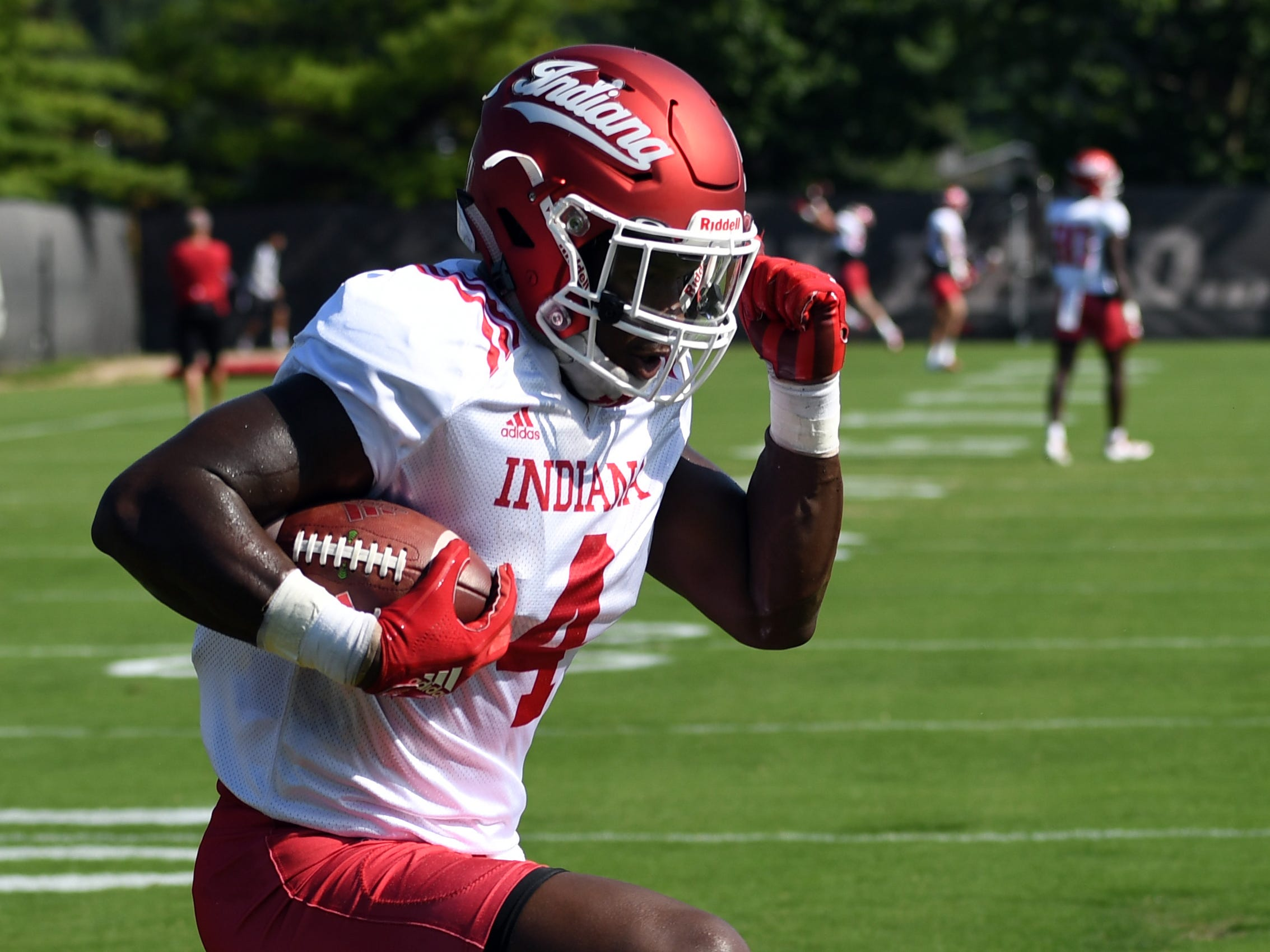 Indiana Hoosiers running back Morgan Ellison (4) goes through drills during practice at Mellencamp Pavilion in Bloomington, Ind., on Monday, August 6, 2018.