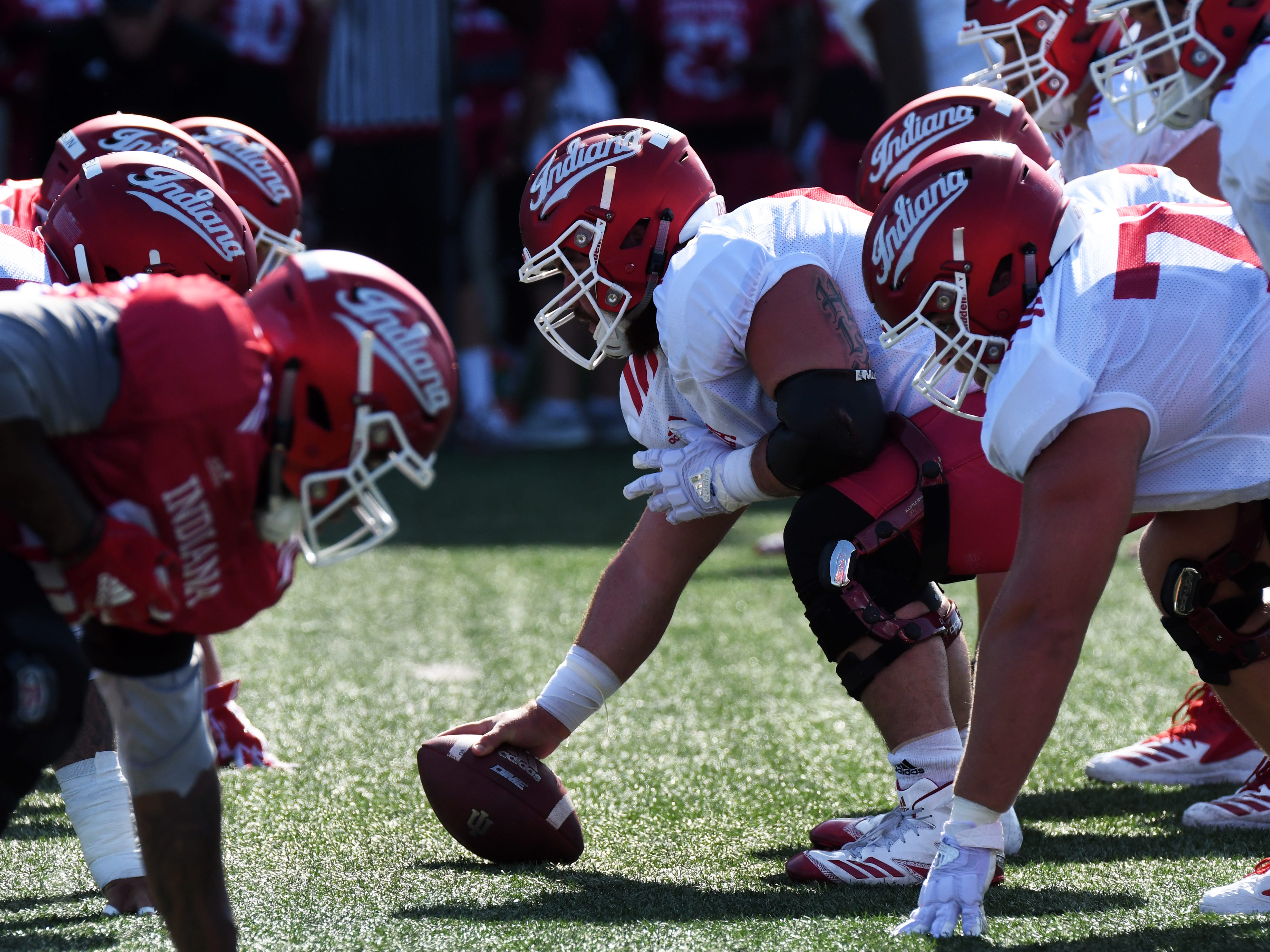 Indiana lines up during practice at Mellencamp Pavilion in Bloomington, Ind., on Monday, August 6, 2018.