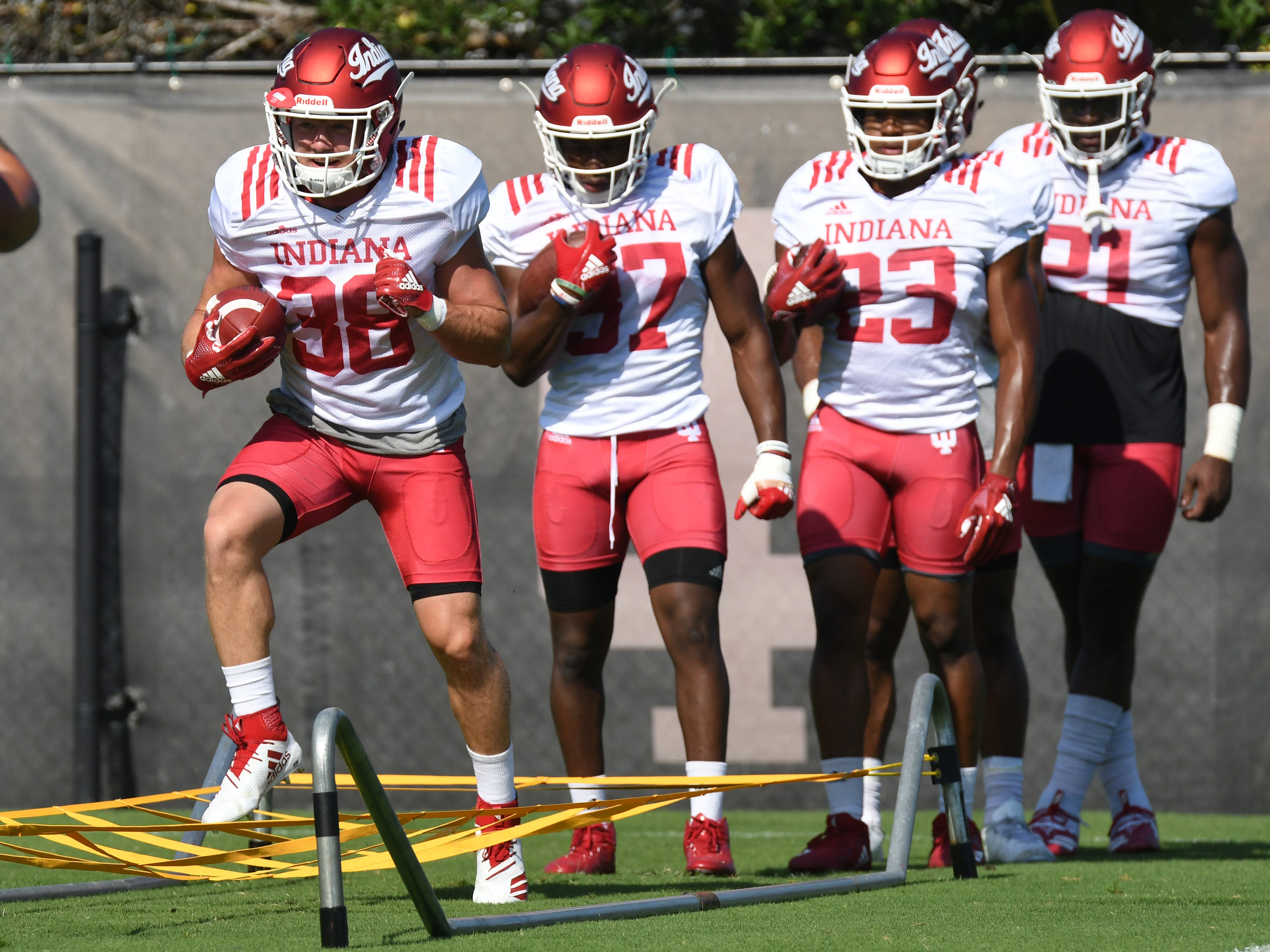 Indiana Hoosiers running back Connor Thomas (38) participates in drills during practice at Mellencamp Pavilion in Bloomington, Ind., on Monday, August 6, 2018.