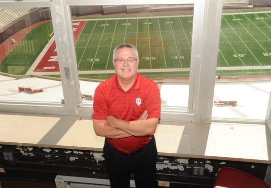 Buck Suhr in the IU football broadcast booth.