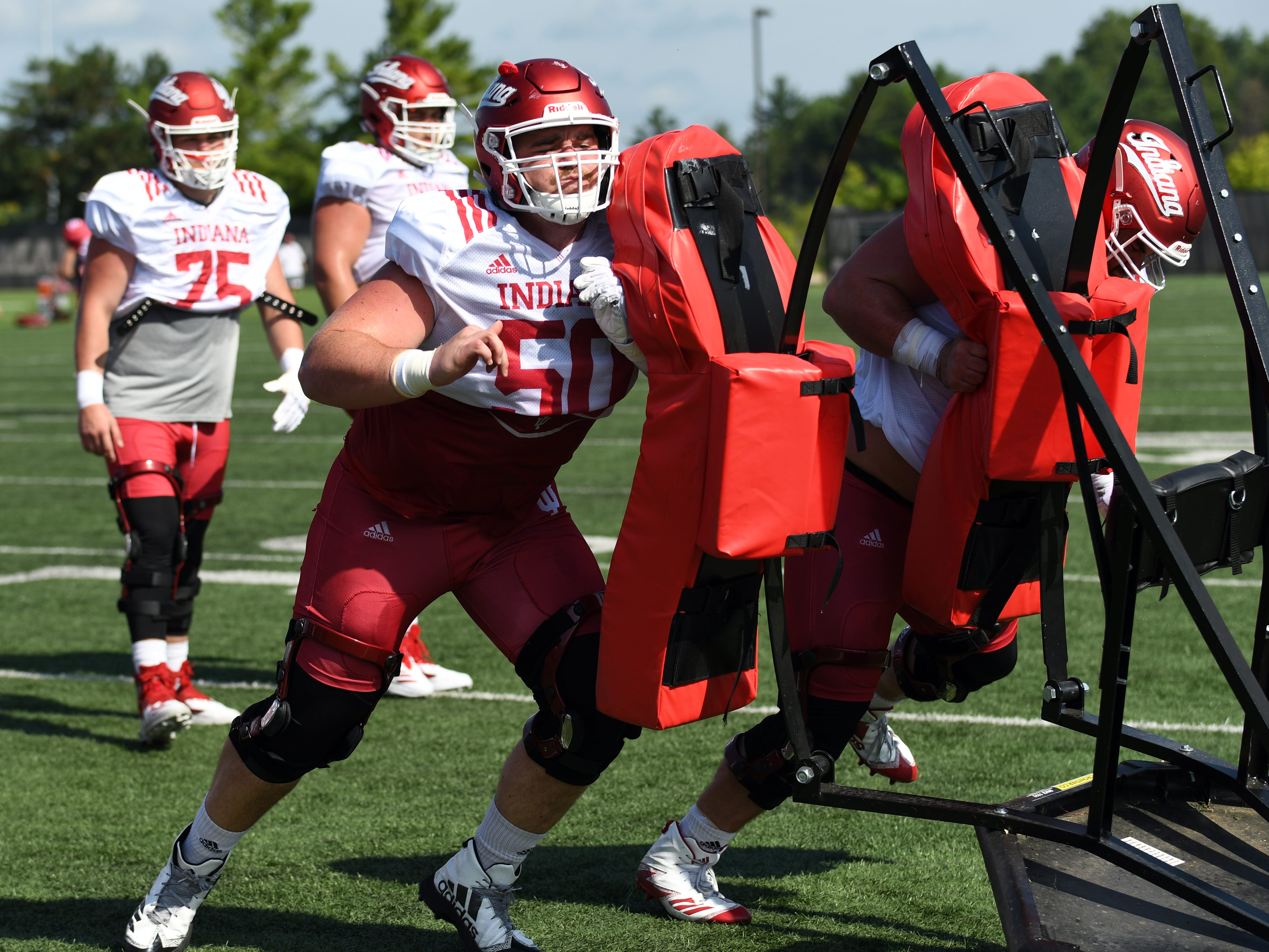 Indiana Hoosiers offensive lineman Nick Linder (50) participates in drills during practice at Mellencamp Pavilion in Bloomington, Ind., on Monday, August 6, 2018.