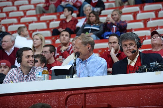 Errek Suhr (left), Don Fischer (middle) and Joe Smith (right) at an IU basketball game where the Hoosiers are playing Austin Peay in 2015.