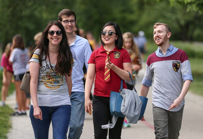 """Harry Potter fans, from left, Rachel Skiles, Tyler Echelbarger, Annie Echelbarger and Ryan Felton participated in a Monon Trail run/walk in 2017 to mark the 20th anniversary of """"Harry Potter and the Sorcerer's Stone."""""""