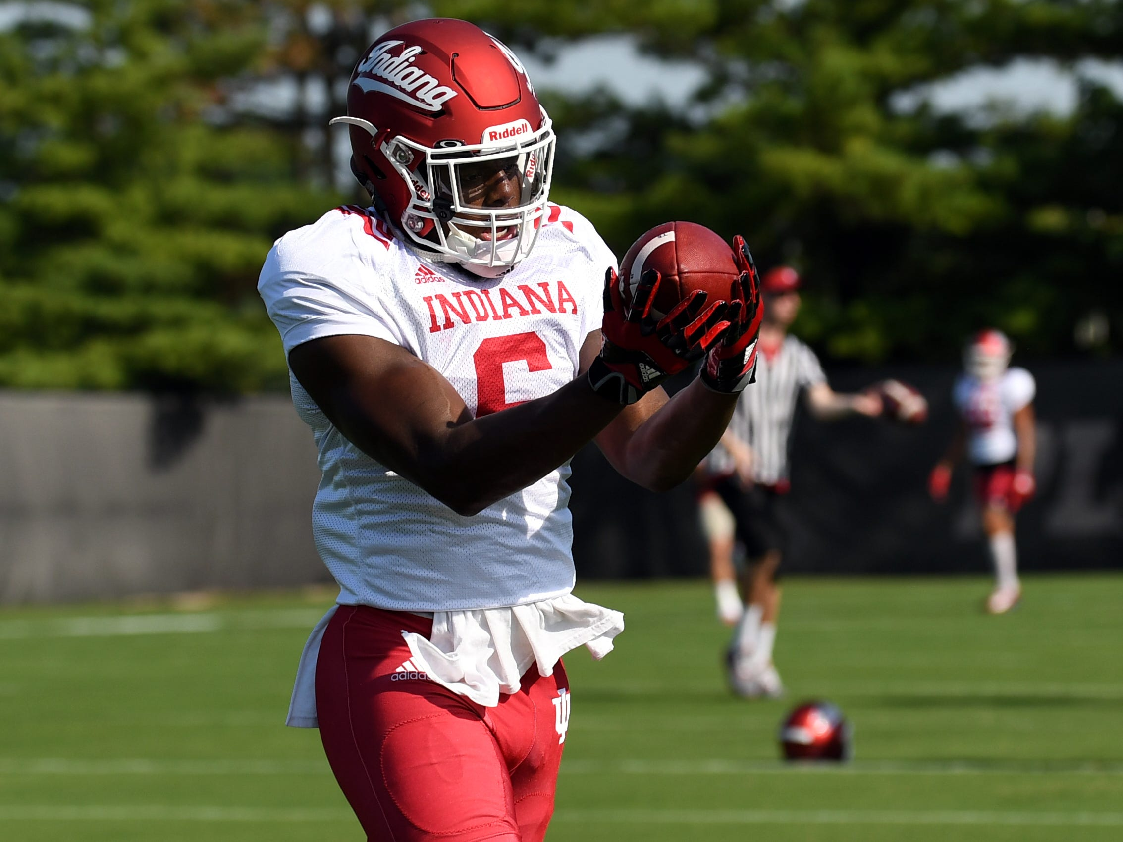 Indiana Hoosiers wide receiver Donovan Hale (6) catches a pass during practice at Mellencamp Pavilion in Bloomington, Ind., on Monday, August 6, 2018.