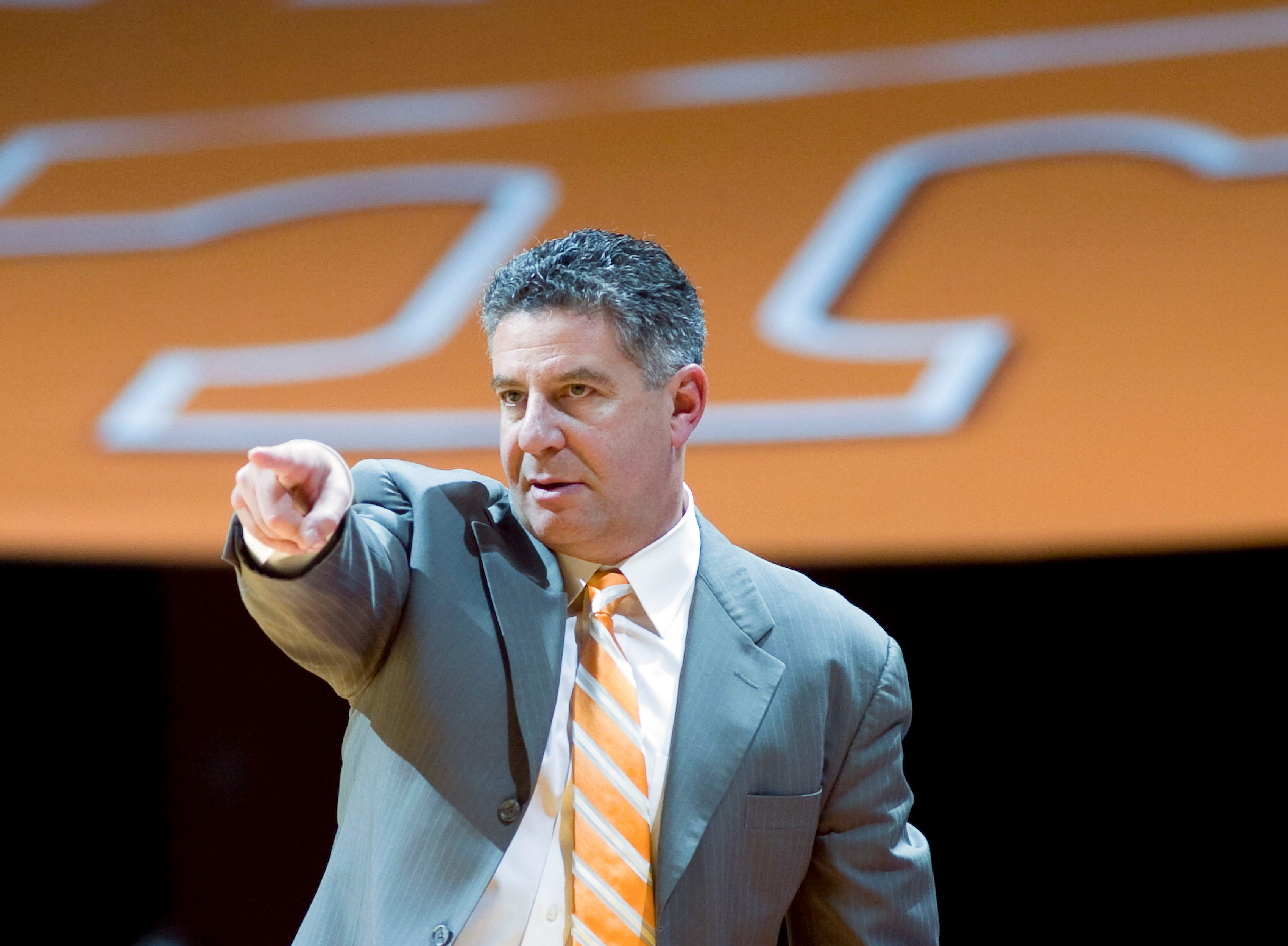 Tennessee coach Bruce Pearl sends out directions to his team during the game against UT Martin at Thompson-Boling Arena on Wednesday, December 29, 2010.