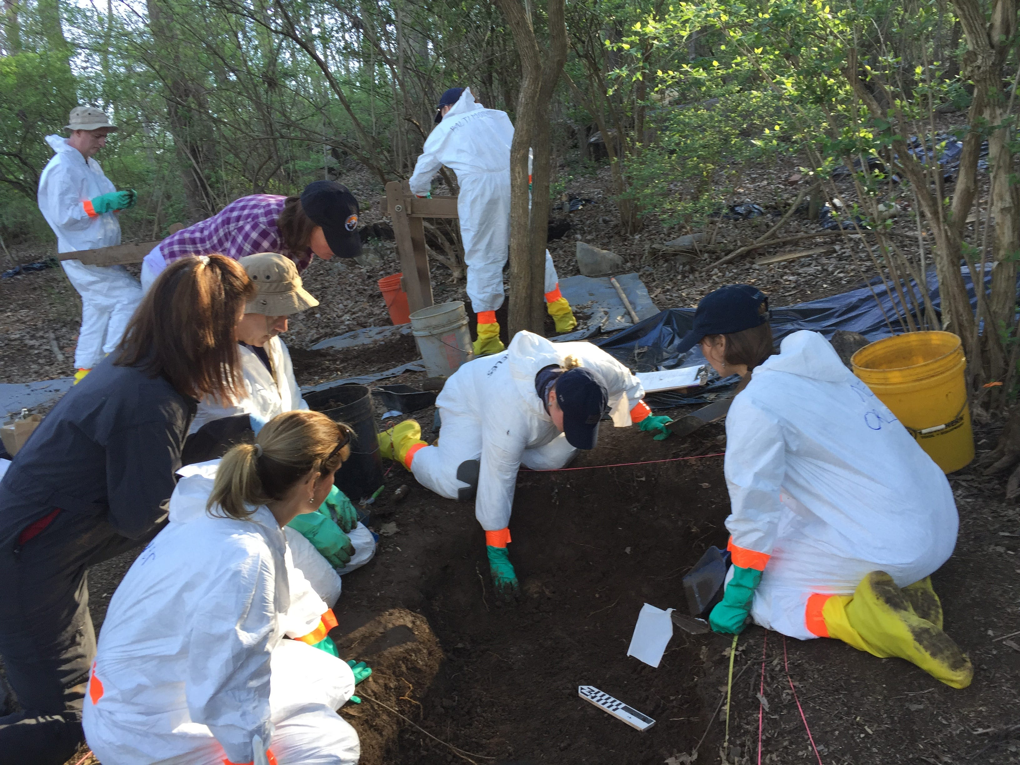 FBI agents from evidence response teams across the country work with staff from the University of Tennessee Forensic Anthropology Center, often called the body farm, to recover human remains on Thursday, March 17, 2016. FBI agents from across the country are attending the weeklong training.