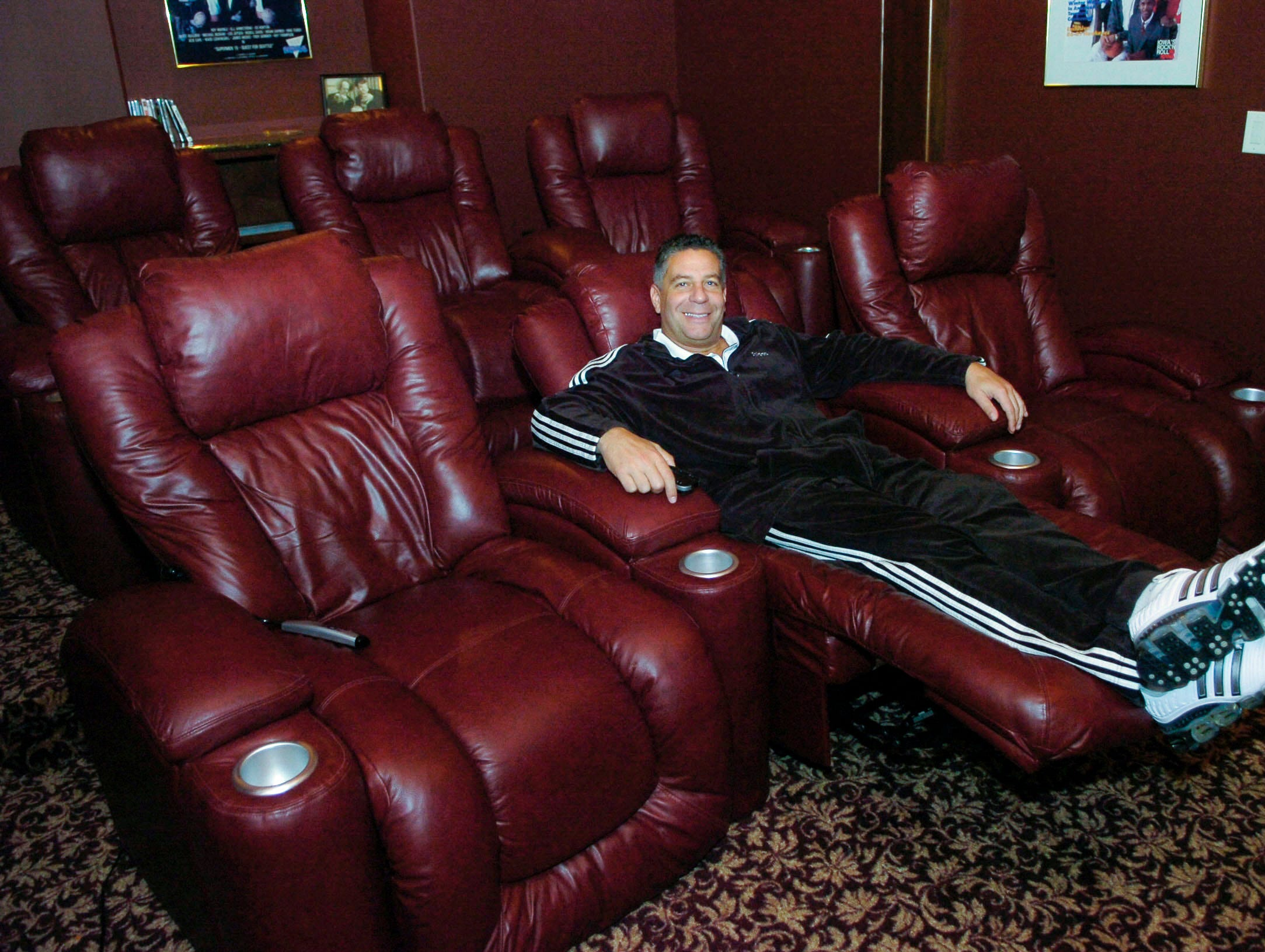 University of Tennessee basketball coach Bruce Pearl relaxes Friday in his home theatre of his first Gettysvue home in 2008.