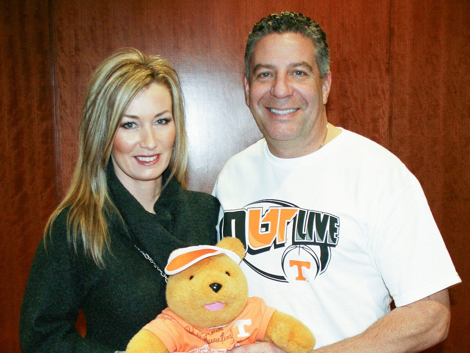 Brandy and Bruce Pearl with Chemo Bear, the mascot of the UT Medical Center Cancer Institute in 2011