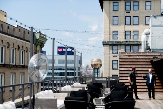 The Sunsphere can be seen from the rooftop seating at the Hyatt Place Rooftop Bar in Knoxville, Tennessee on Tuesday, August 7, 2018. The rooftop offers views of downtown, mountains and a selection of drinks and snacks at the bar.