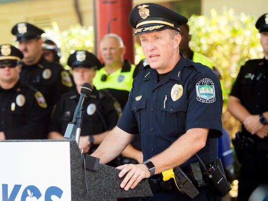 KPD Deputy Chief Kenny Miller speaks at a back-to-school safety press conference held at Rocky Hill Elementary on Tuesday, August 7, 2018.