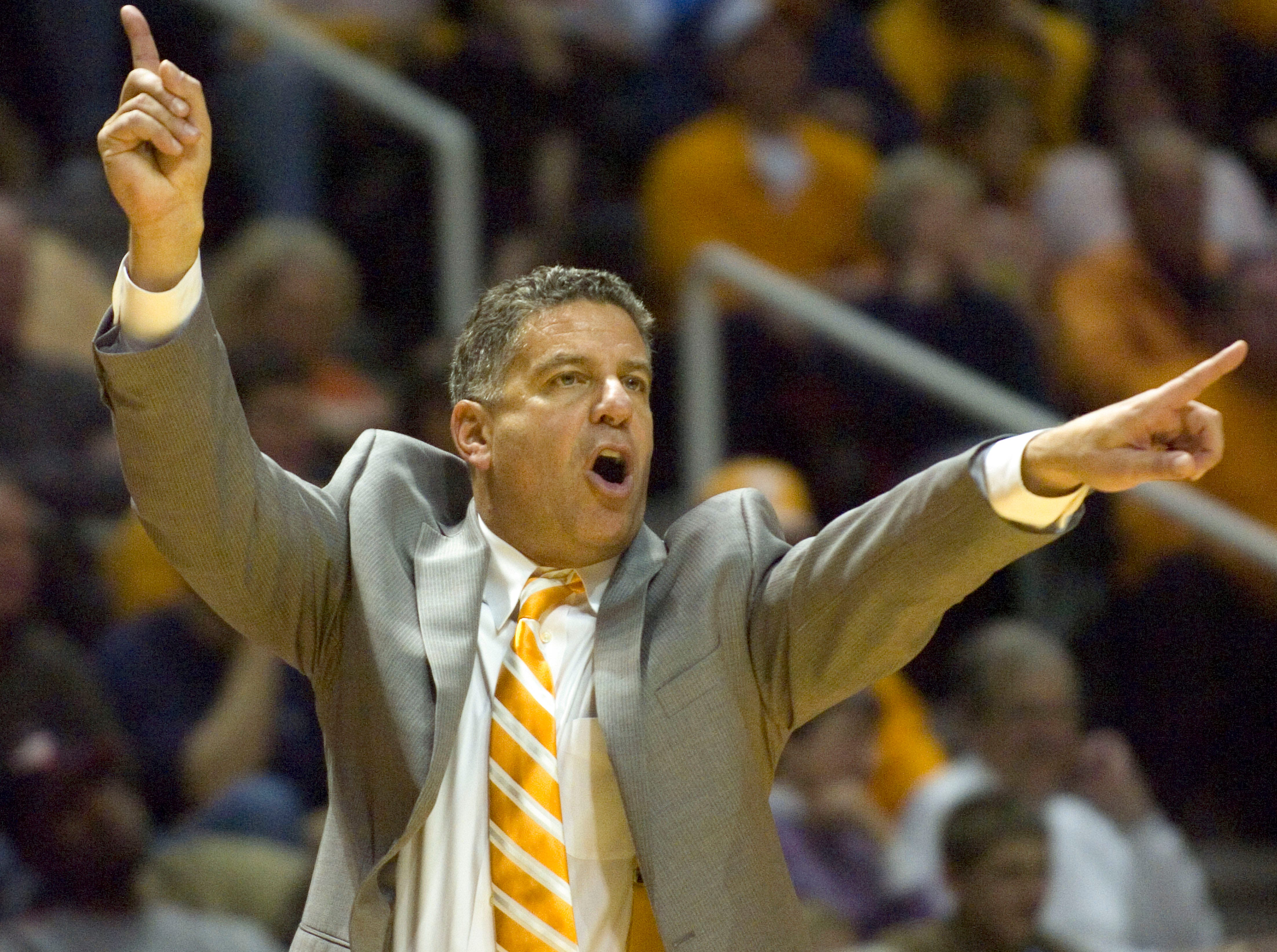 Tennessee coach Bruce Pearl gives directions to his players in 2008 during the game against UT Martin.