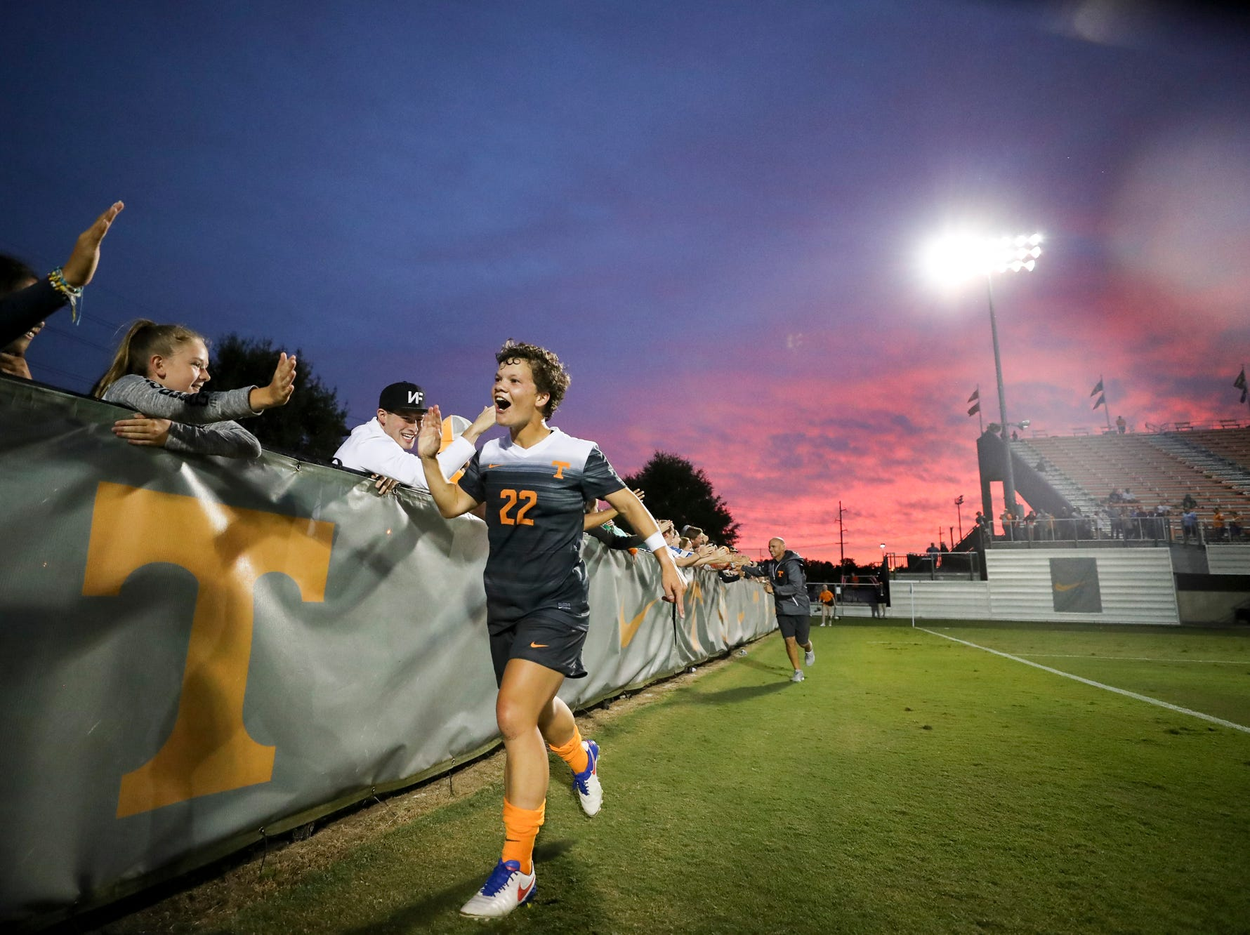 KNOXVILLE, TN - SEPTEMBER 10, 2017 - Tennessee midfielder Katie Cousins greets fans during a game against Louisville on Sept. 10, 2017 at Regal Soccer Stadium in Knoxville.