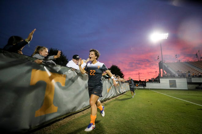Tennessee midfielder Katie Cousins greets fans during a game against Louisville on Sept. 10, 2017 at Regal Soccer Stadium in Knoxville.