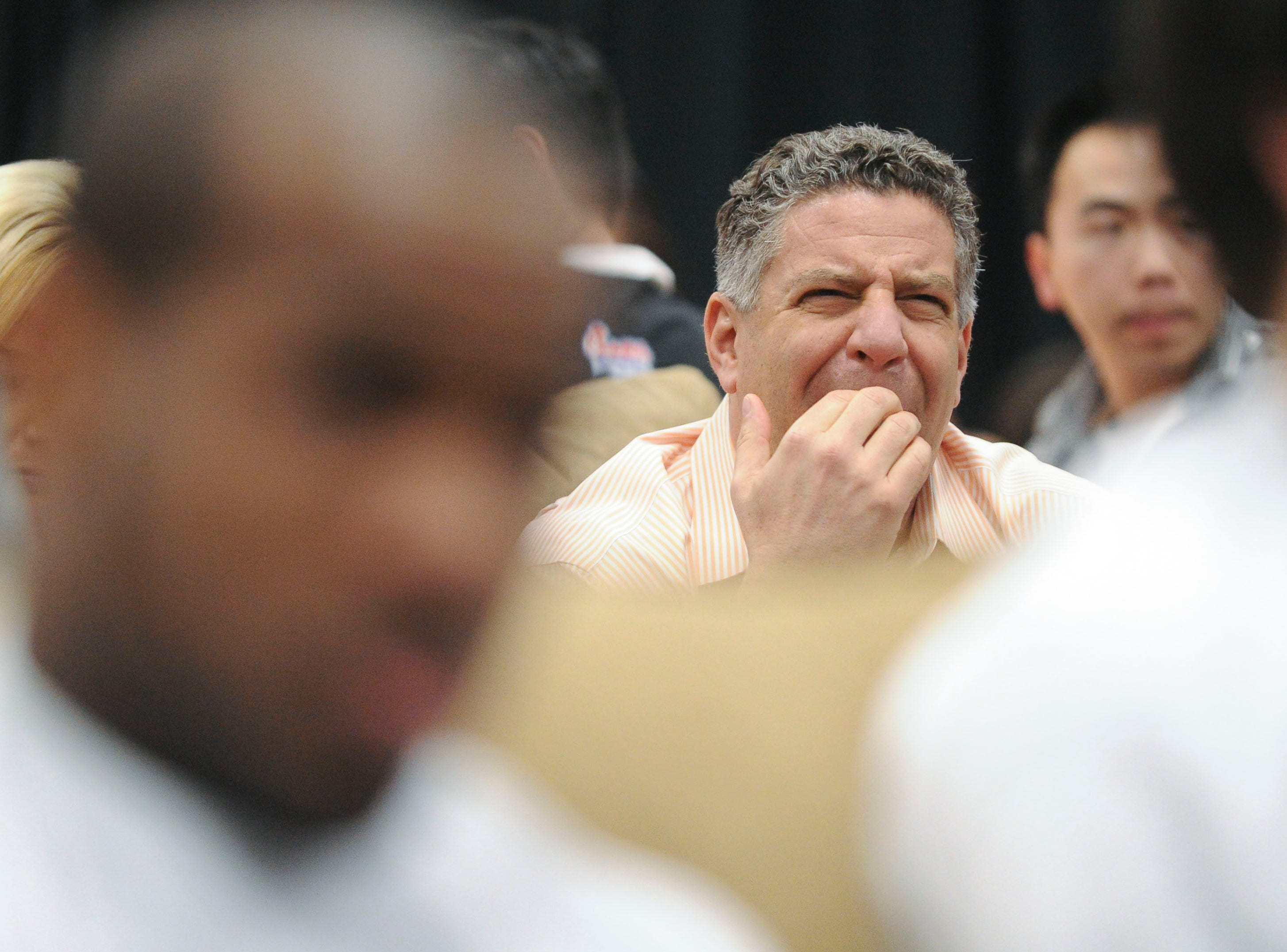 Tennessee head basketball coach Bruce Pearl watches the results of the NCAA selection show at Thompson-Boling Anrea on Sunday, March 13, 2011.