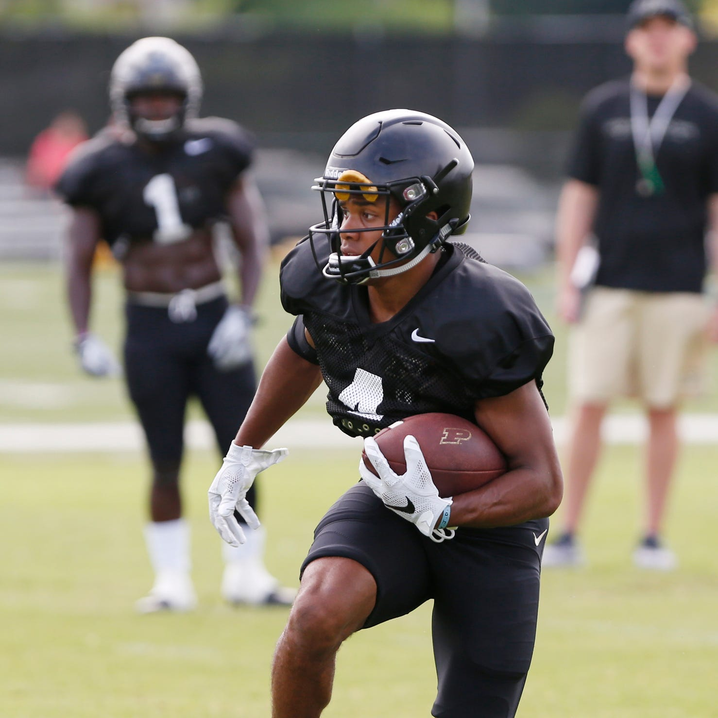 Wide receiver Rondale Moore during football practice Tuesday, August 7, 2018, at Purdue.