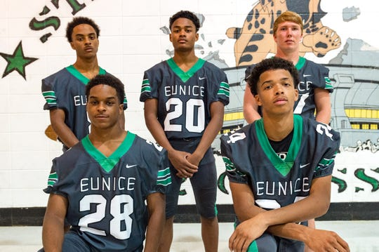 Eunice offensive leaders include Simeon Ardoin (8), Jeoul Hill (20), Avery Lee (27), Deon Ardoin (28) and Jordan Ledet (24)