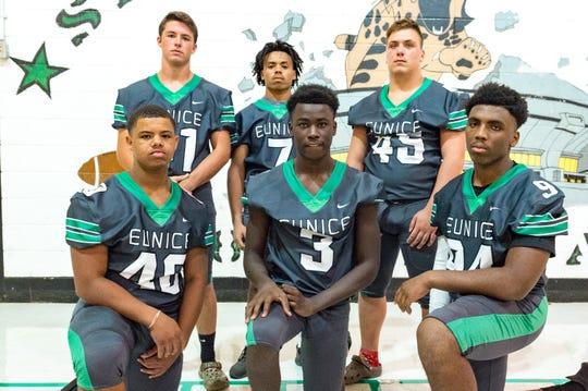 Eunice defensive standouts include Parker Jodon (41), Keyshawn Guillory (7), Brodi Walker (45), Jerry Douglas (40), Isaiah Darby (3) and Jordan Oglesby (94)