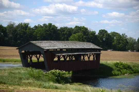 The Mary Ruffner covered bridge currently straddles a private pond in Perry County.  The Fairfield County Park District has put its plans to move the bridge to Fetters Run near Forest Rose School on hold.