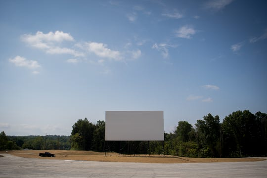 The 80x40 foot screen at the Sauerbeck Family Drive-In in LaGrange, Ky, Aug 7, 2018.