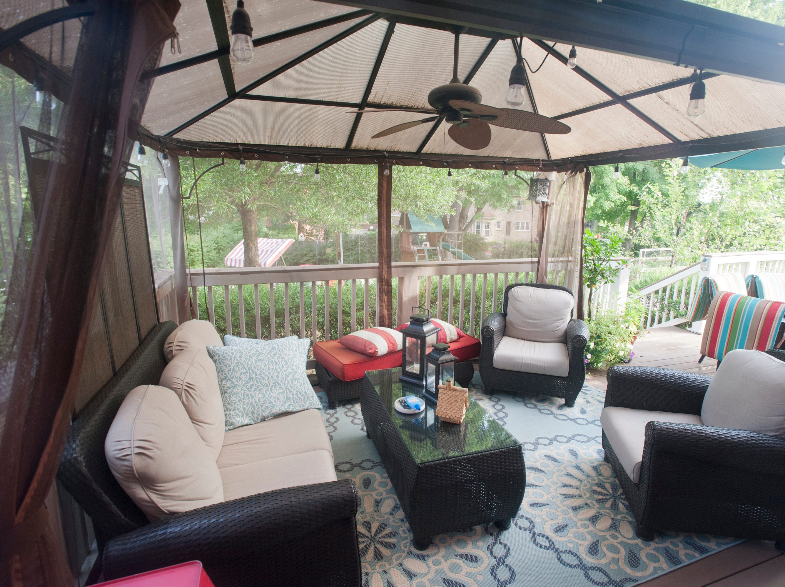 The screened-in back deck at the home of Jean Hodges.