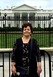 Marzieh Taheri, 61, in front of the White House.