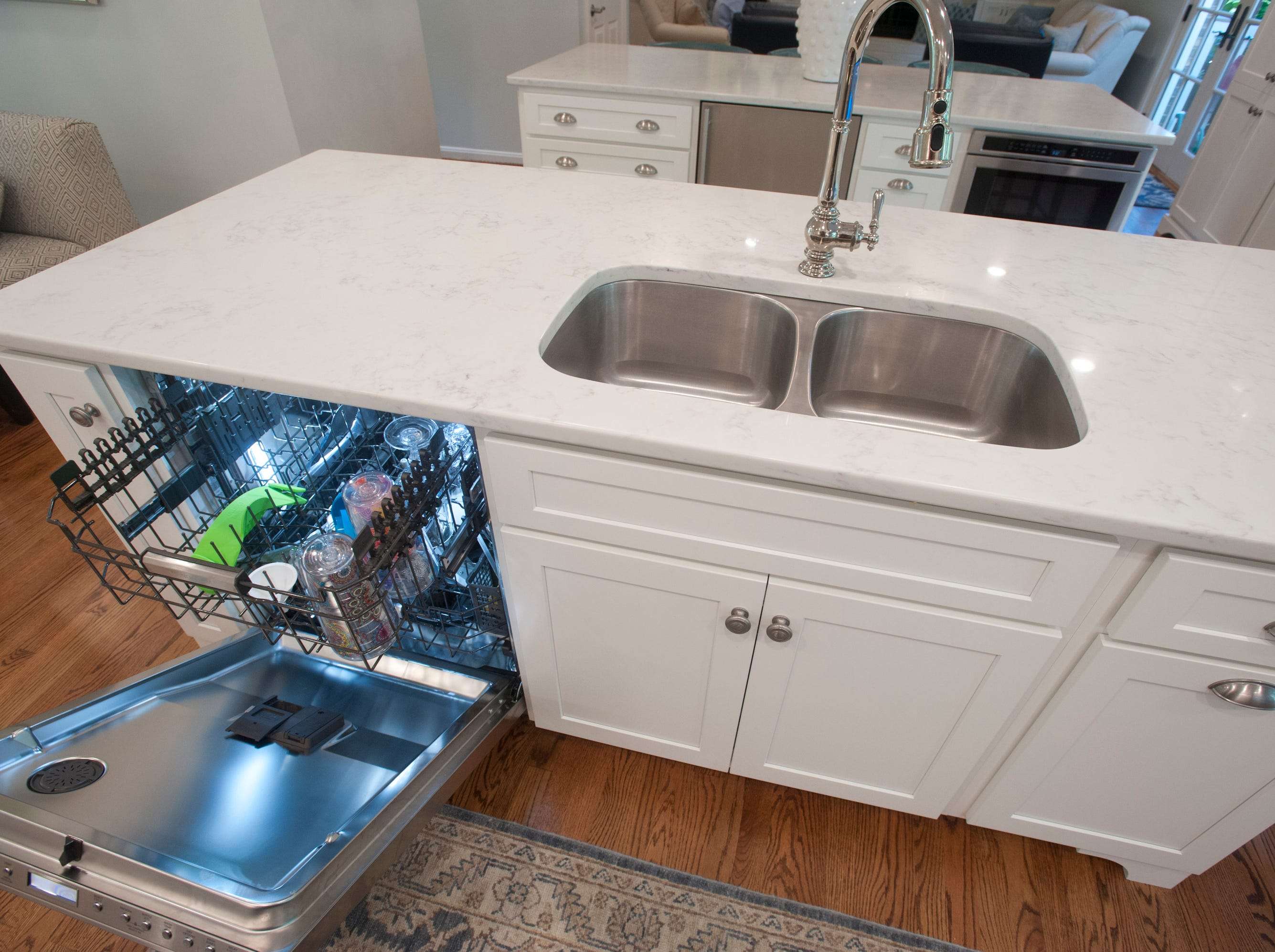 The dishwasher and sink island in the kitchen.