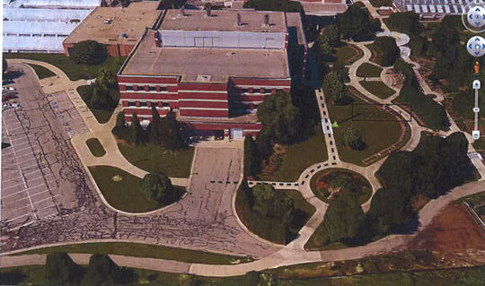 An aerial photo of the location where Elisabeth Ostendorf was struck by a Michigan State University vehicle in October of 2014.