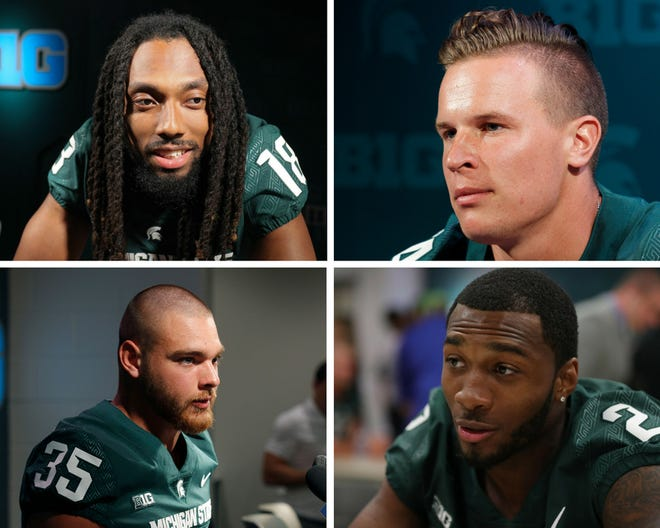 Michigan State football players (clockwise from top left) Felton Davis III, Brian Lewerke, Justin Layne and Joe Bachie at media day on Monday, Aug. 6, 2018.
