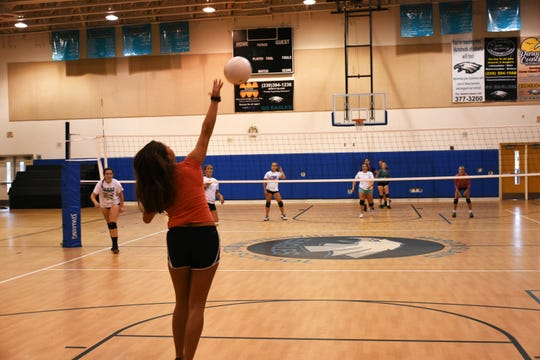 The MIA volleyball team practices at MICMS. Marco Island Academy athletics is using a snap-raise.com web page to bring in money to fund their fall sports program.