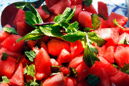 Serve watermelon a little differently, as a salad with mint and lime.