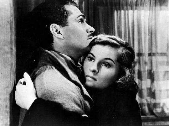 "Laurence Olivier and Joan Fontaine star in Alfred Hitchcock's ""Rebecca."""