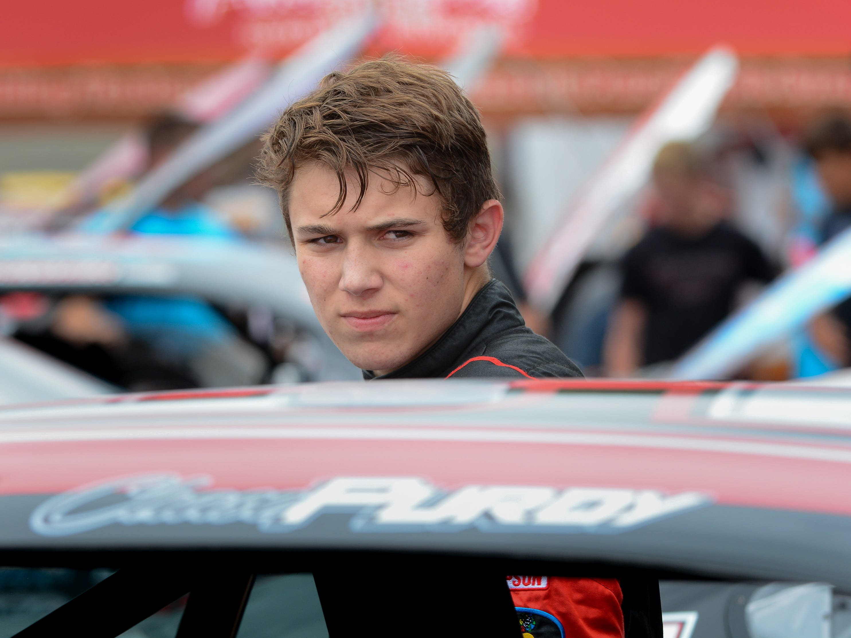 Chase Purdy stands by his car after practice for the ARCA Midwest Tour Dixieland 250 on Tuesday, August 7, 2018, at Wisconsin International Raceway in Kaukauna, Wis.