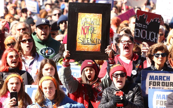 Thousands marched down South Street in Morristown as part of March For Our Lives.  Bob Karp/Staff Photographer Approximately 13,000 marched down South Street in Morristown in the March For Our Lives demonstration.