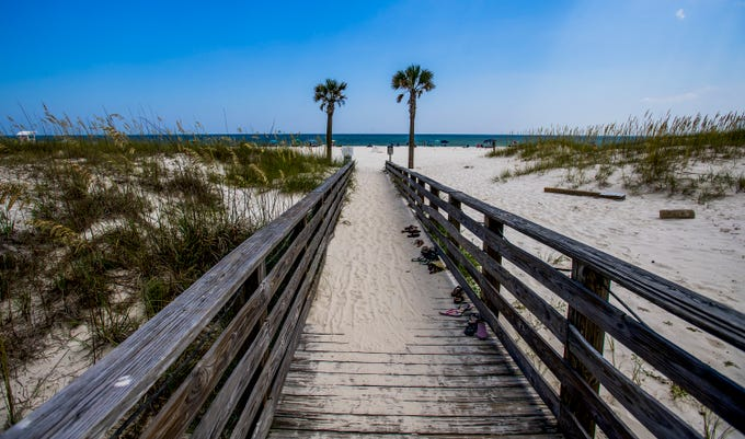 The beach at Gulf State Park in Orange Beach, Ala., on Tuesday July 25, 2018.
